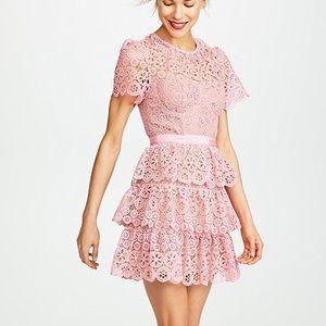 c Self-Portrait Pink Tiered Lace Mini Dress
